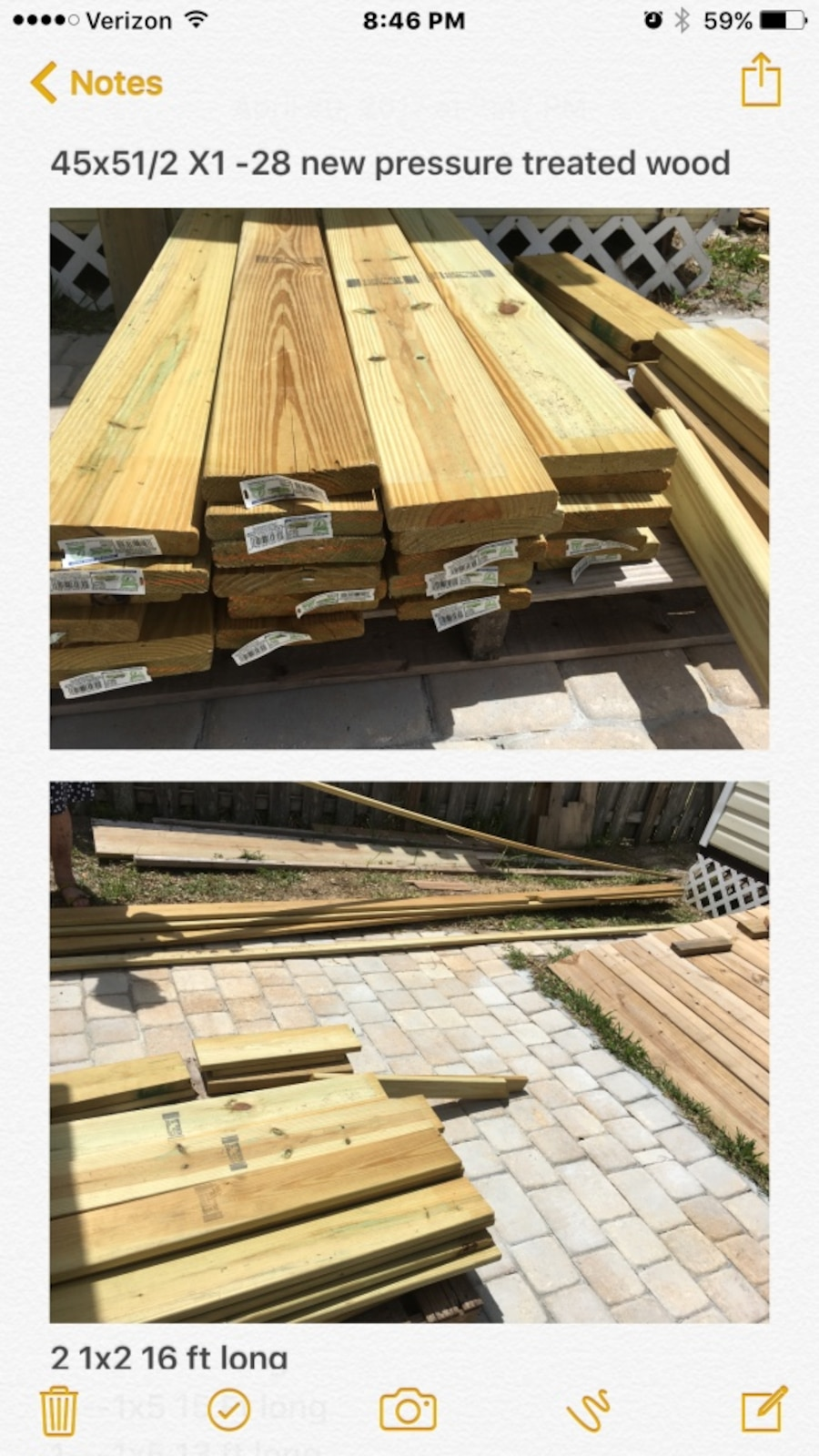 Treated wood lot