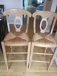 two brown wooden framed white padded chairs Silver Spring, 20906