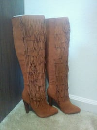 pair of brown suede knee-high heeled boots with fringe Morrisville, 27560
