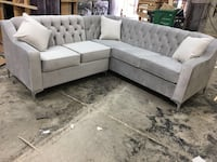 white fabric sectional sofa with throw pillows Mississauga, L5S