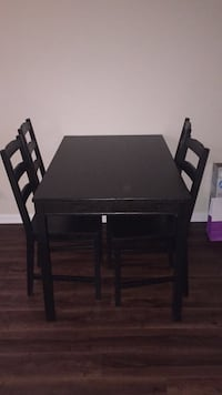 Rectangular black wooden table with four chairs dining set Los Angeles, 90292