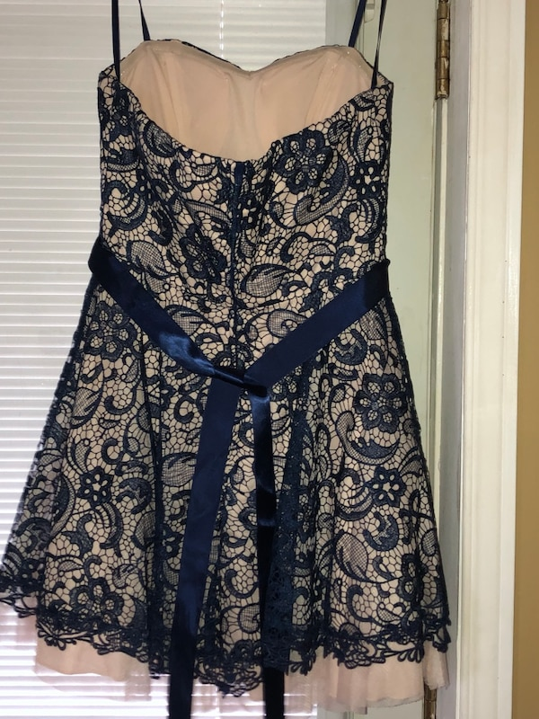 Blue and white strapless floral dress 234c36d8-8bcf-44e3-a441-9c2d7bc43b19