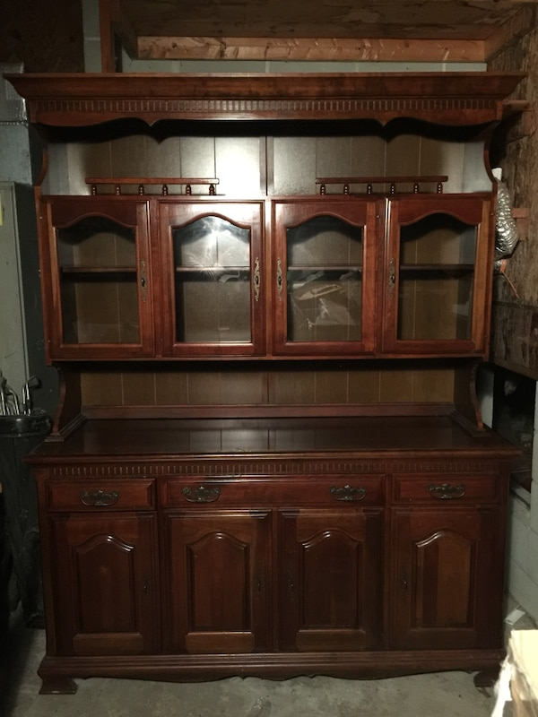 Incredible Brown Wooden Buffet Cabinet With Open Hutch Home Interior And Landscaping Ologienasavecom