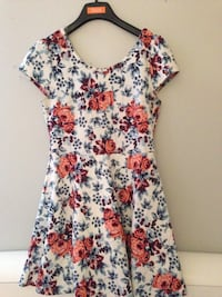 White, red, and green floral scoop neck dress Toronto, M5V