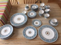 white and blue ceramic dinnerware set ARLINGTON