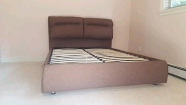 Brand New Queen size Brown Fabric Bed Frame