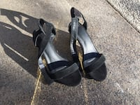 pair of black open-toe ankle strap heels Calgary, T3E 3G6
