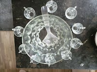 Glass punch bowl with 10 glass cups Calgary, T1Y 4P6
