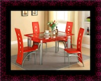 Glass red dining table with leather chairs Herndon, 20171