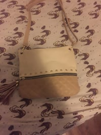 white and brown leather crossbody bag Montreal