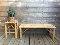 Bamboo bench and small table  Austin, 78753