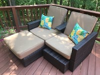 Patio furniture - double chair with ottomans