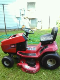 red and black ride on mower