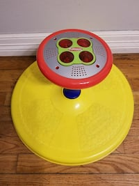 yellow, gray and red Playskool sit-to-stand toy