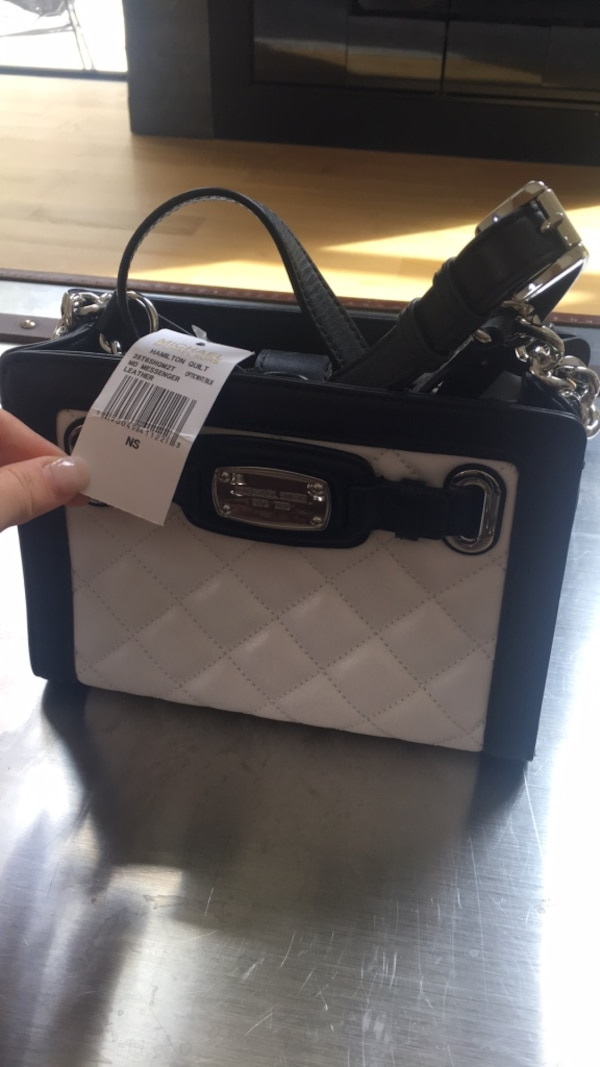 89c4af9eaa6b Michael Kors Brand NEW with tags Black and white leather handbag ...