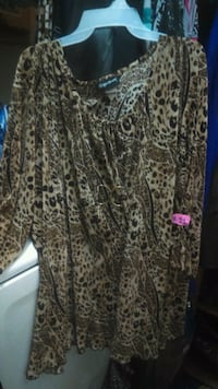 brown and black leopard print long-sleeved shirt Sparks, 89436