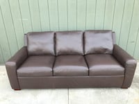 High-end brown leather 3-seat sofa by American Leather