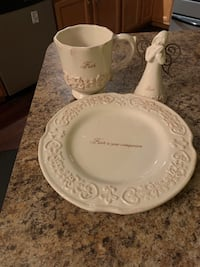 Faith plate, coffee cup and Angel Inwood, 25428