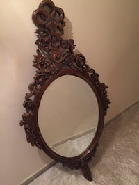 Brown frame oblong mirror