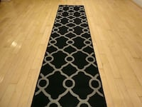 Black Modern Runner Rugs 2x8 Carpet Silver Spring