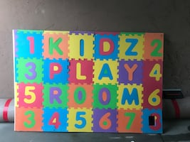 (3) Wall or floor kids letters/numbers glued on plywood
