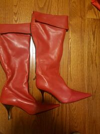 Brand new red leather Italian boots
