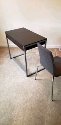 black wooden side table with gray metal base Mount Rainier, 20712