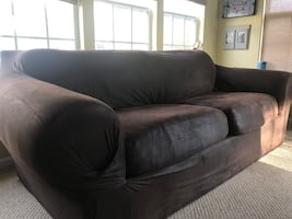 Long couch with slip cover