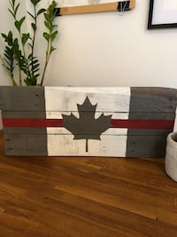 Thin Red Line Canada Flag Reclaimed Disressed Wood with hanger Firefighter and Paramedics Toronto, M8V 1X4