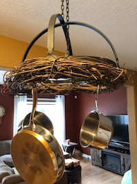 Hanging wrought iron pot rack with pots New Tecumseth, L9R 0A6