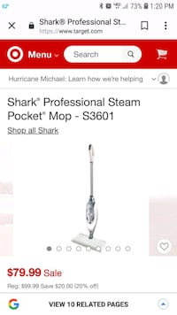 white and gray Shark steam mop screenshot 53 km