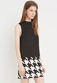 Women's Black Colorblocked Houndstooth Shift Dress Halifax, B3M 3P9