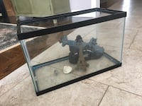 Fish tank with filter, fish food, accessories, and rocks!