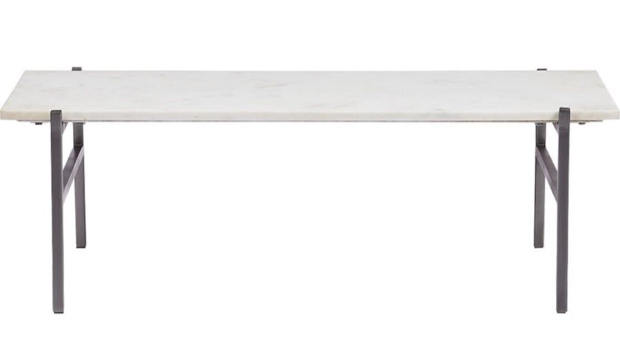 WHITE MARBLE COFFEE TABLE WITH ANTIQUED SILVER BASE 14b9be66-e75e-49d1-9f46-3b23944e606b