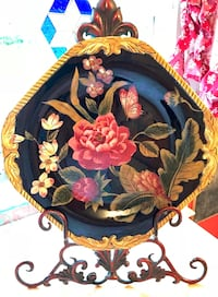 """Hand Painted 13""""Square Ceramic Floral Serving Platter by Certified Int. Corp. Raymond Waites-Bali Kansas City, 64118"""