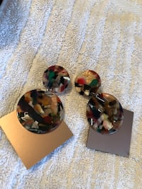 Multicolored marbled with bronze arrowhead boutique earring Fredericksburg, 22408