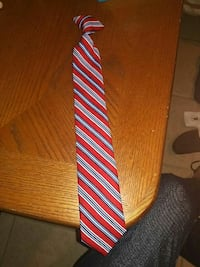red and blue striped neck tie