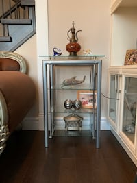 Silver and glass shelving unit  Surrey, V4N 0C7