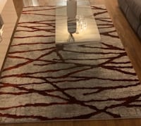 Grey and Red shaggy Rug