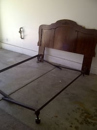 Antique Wood Twin Bed Head Board with Inlay, Steel