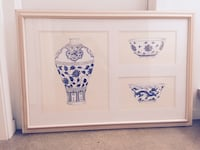 Oversized custom framed art = Chinese porcelain  Arlington