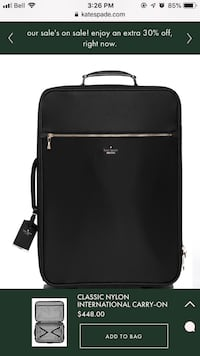 Kate spade carry on luggage black Chestermere, T1X 1M3