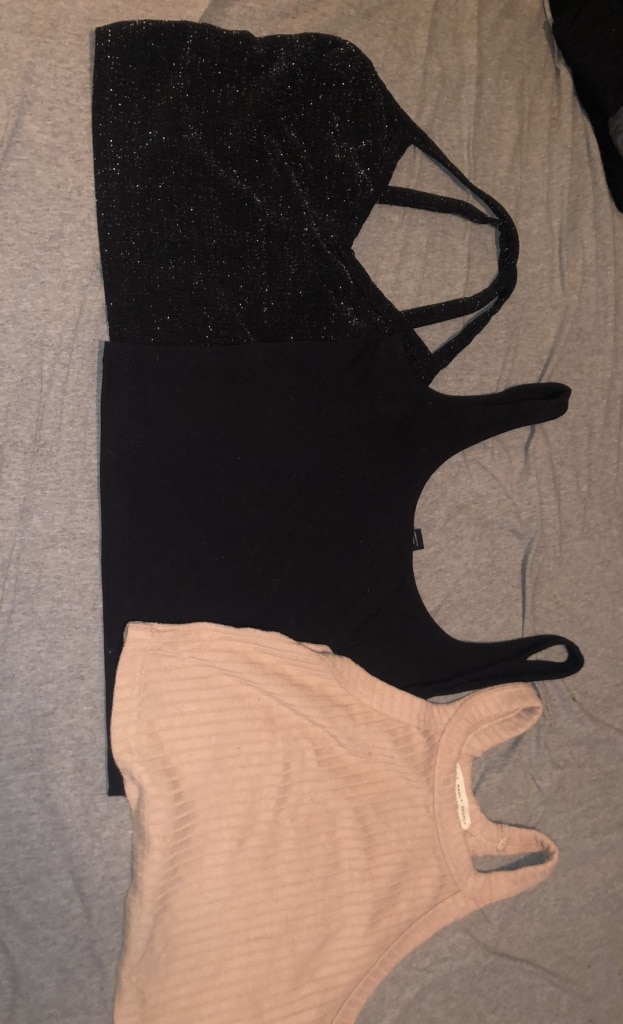 Photo Assorted crop tops. $4 each or all three for $10. All small sizes.