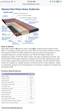 SunEarth Inc. Empire EP-32 solar collector panel for domestic hot water applications featuring all copper absorber with selective paint surface. Size is 4' X 8', 32 square feet. Black anodized extruded aluminum frame with low iron tempered glass. Lakewood, 90713