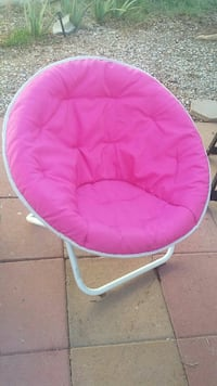 pink and white moon chair