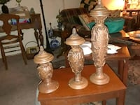 Trio of home interior candlesticks with the lids. Granite City