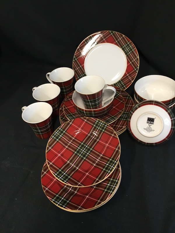 Used 222 Fifth Wexford Red Plaid Porcelain 16 Piece Dinnerware Set ...