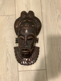 Carved mask wall decor