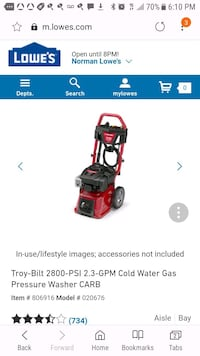 red and black Troy-Bilt pressure washer screenshot Norman, 73069