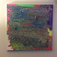 Green and brown abstract painting Branson, 65616